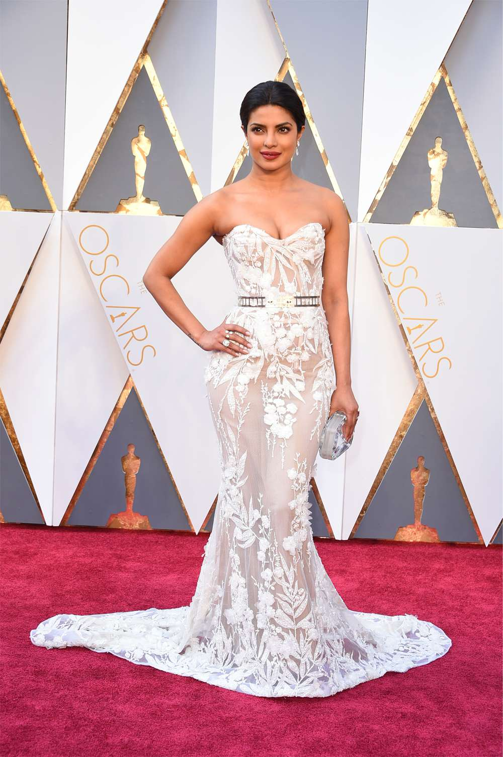 Priyanka Chopra in a sheer Zuhair Murad gown before co-presenting the Oscar for editing.