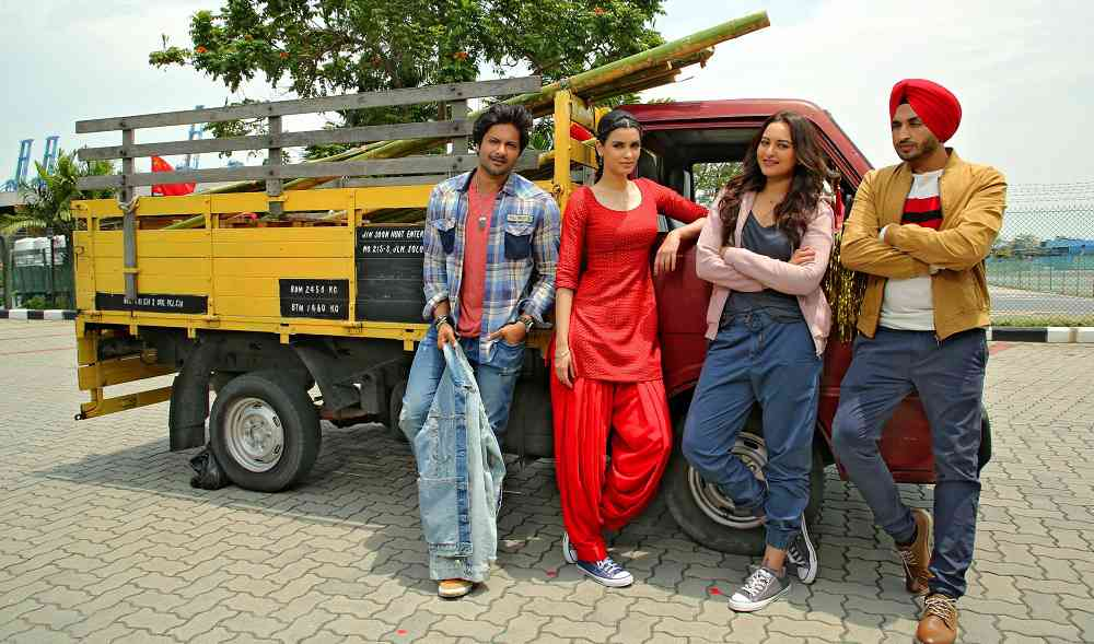 Ali Fazal, Diana Penty, Sonakshi Sinha and Jassi Gill in Happy Phirr Bhag Jayegi. Courtesy Colour Yellow/Eros.