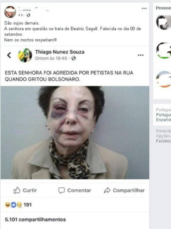 A WhatsApp message widely spread the untrue allegation that actress Beatriz Segall had been beaten up by opponents of Jair Bolsonaro. Photo via WhatsApp
