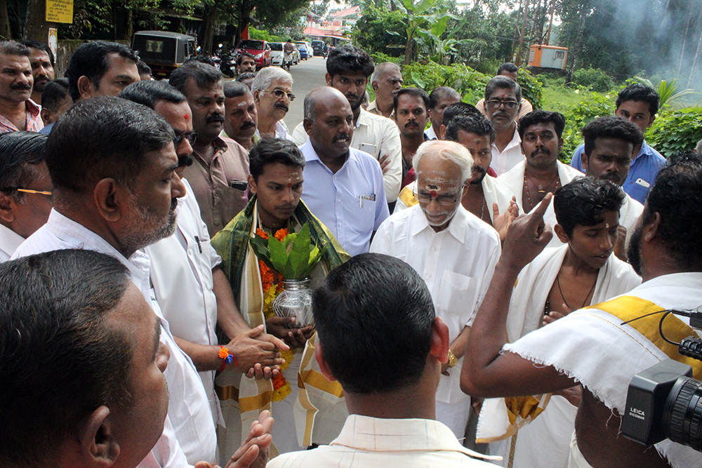 Yedu Krishnan took charge at the Manappuram Sree Mahadeva Temple earlier this month. (Photo credit: Special arrangement).