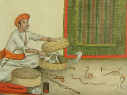 "Illustration for James Skinner's entry on the ""bazigar"" or conjurors. Tashrih al-Aqwam. Delhi, 1825 (BL Add.27255)"