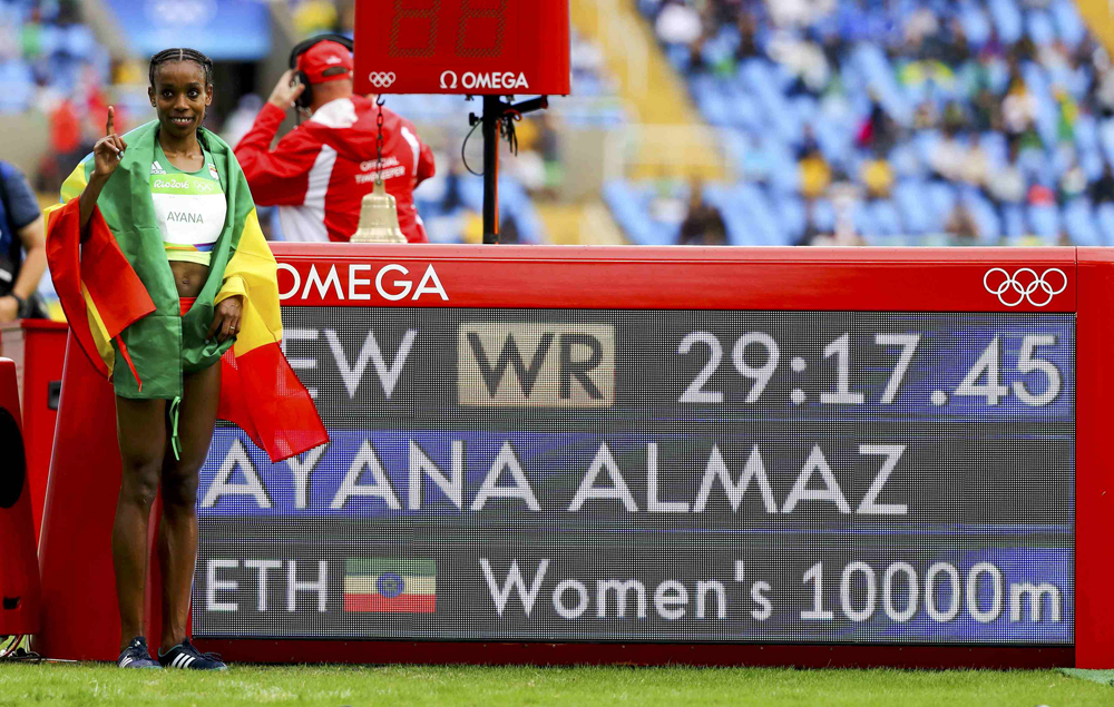 Ethiopia's Almaz Ayana set a new world record in the women's 10,000 metre final, obliterating the previous world record by 14 seconds. Image credit: Lucy Nicholson / Reuters