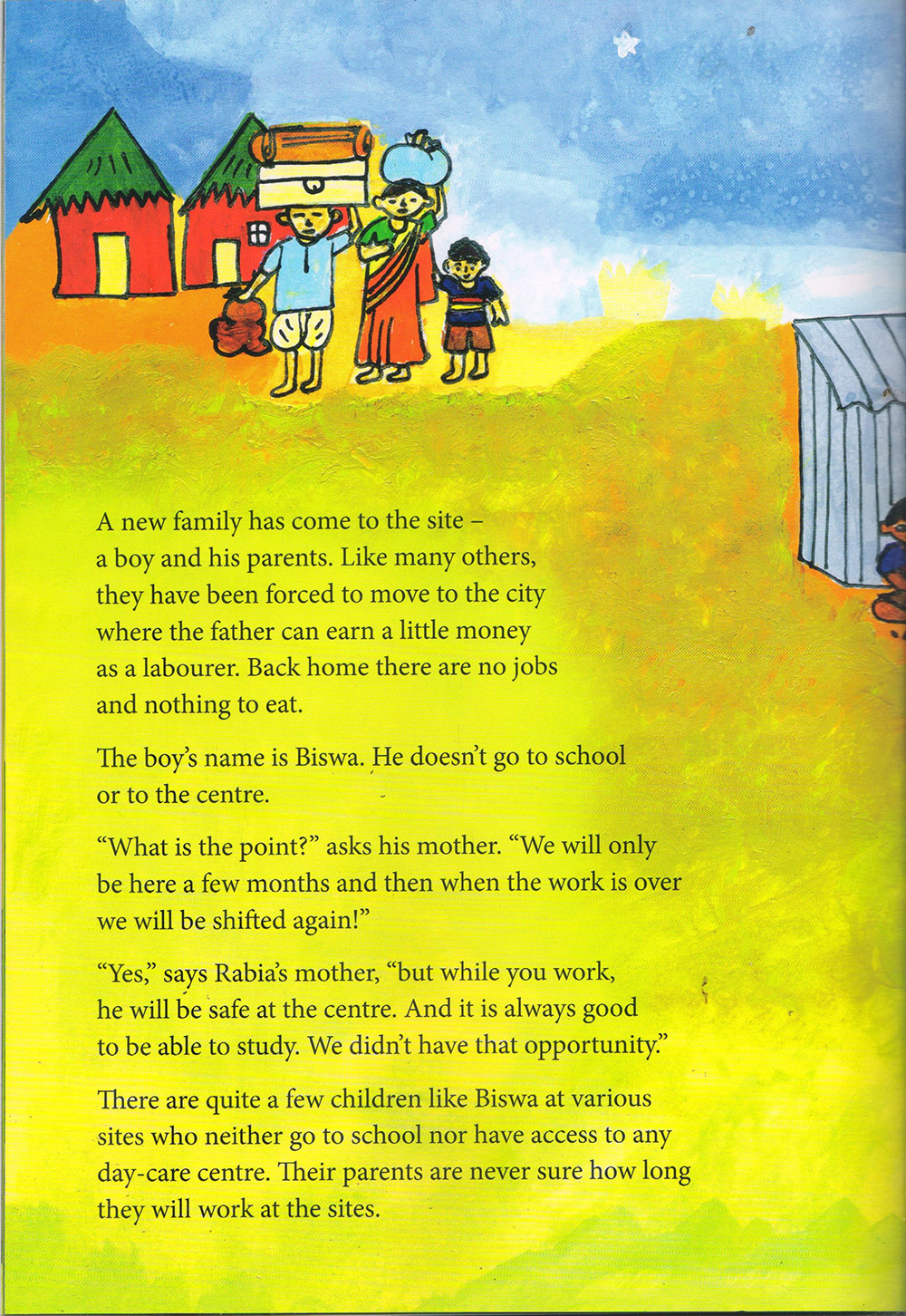 a picture book for children on construction sites gives a peep