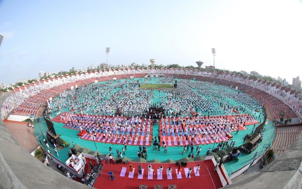 A yoga event in Ahmedabad, Gujarat. (PIB India/Twitter)
