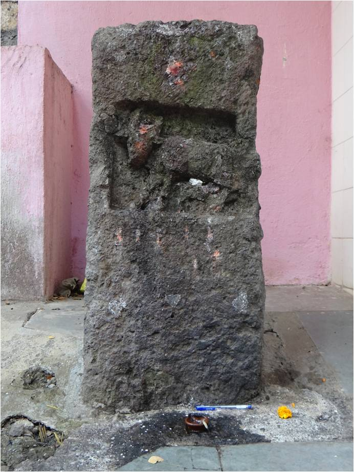A gai-vasru land grant stone from the Shilahara period has been incorporated into a temple in Adarsh Nagar, Andheri.