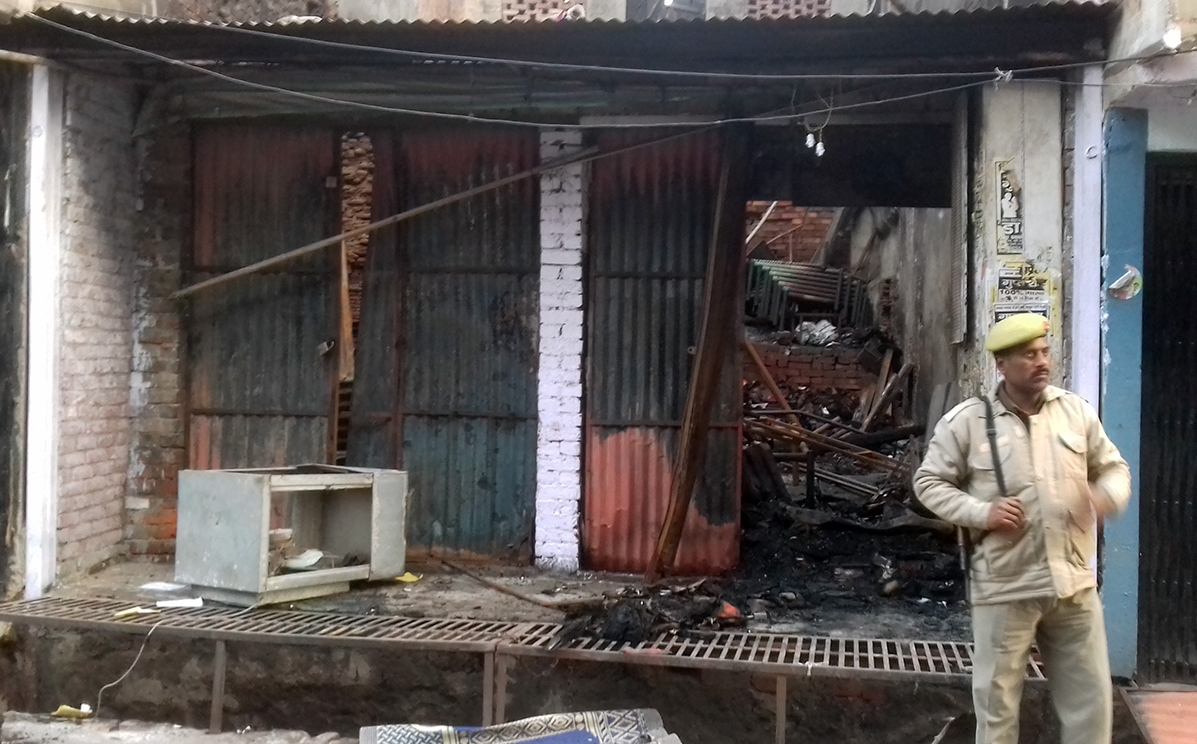 A shop that was gutted in the fire in Ghanta Ghar area. Credit: Abhishek Dey