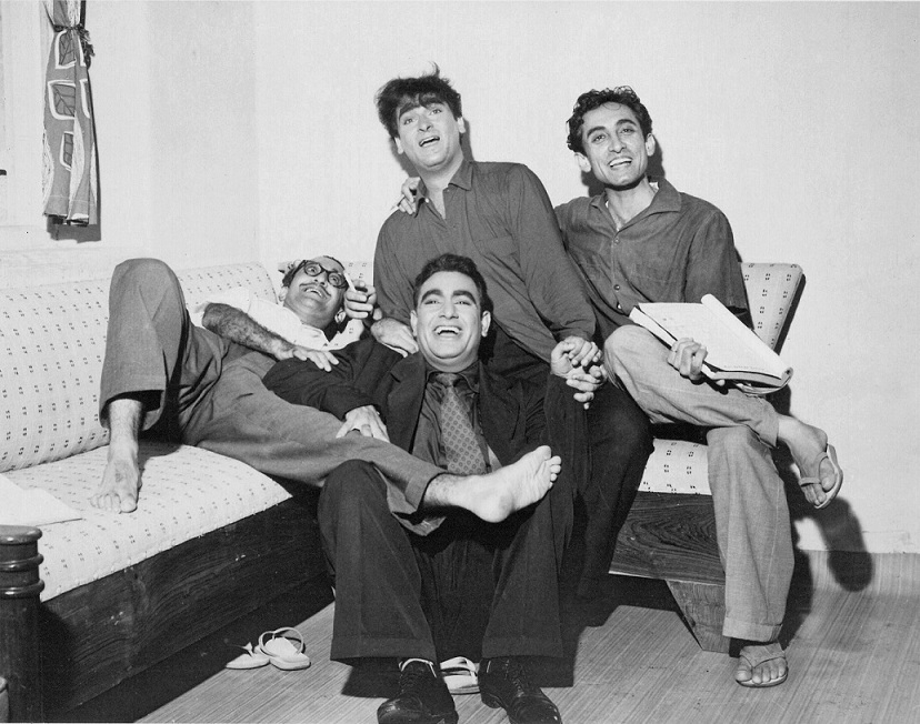 Nasir Husain, Shammi Kapoor, Rajendra Nath (seated) and Tahir Husain. Courtesy Rauf Ahmed.