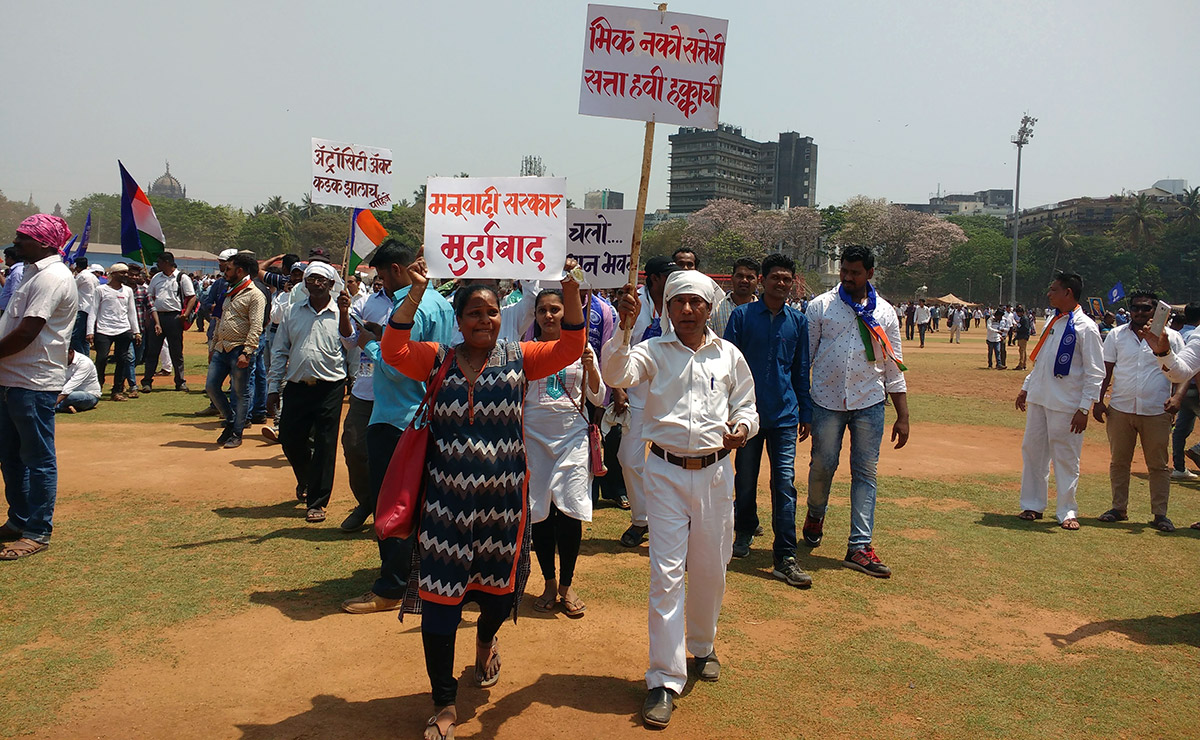 Protestors at Azad Maidan. Photo credit: Mridula Chari