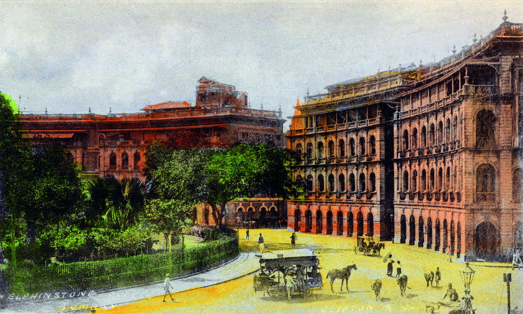 Elphinstone Circle, Bombay, by Clifton & Co., c. 1903. Handcoloured collotype, Undivided back, 12.1 x 8.8 cm, 4.76 x 3.46 in.