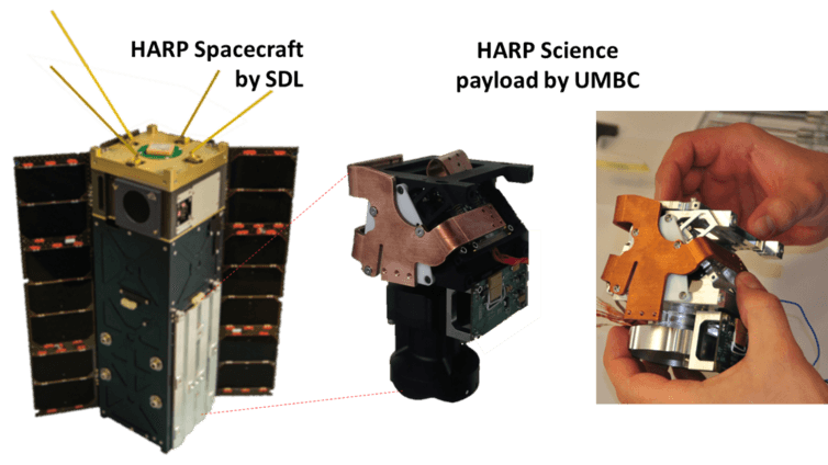 HARP spacecraft and payload at different stages of development. Spacecraft: SDL, Payload:UMBC, CC BY-ND