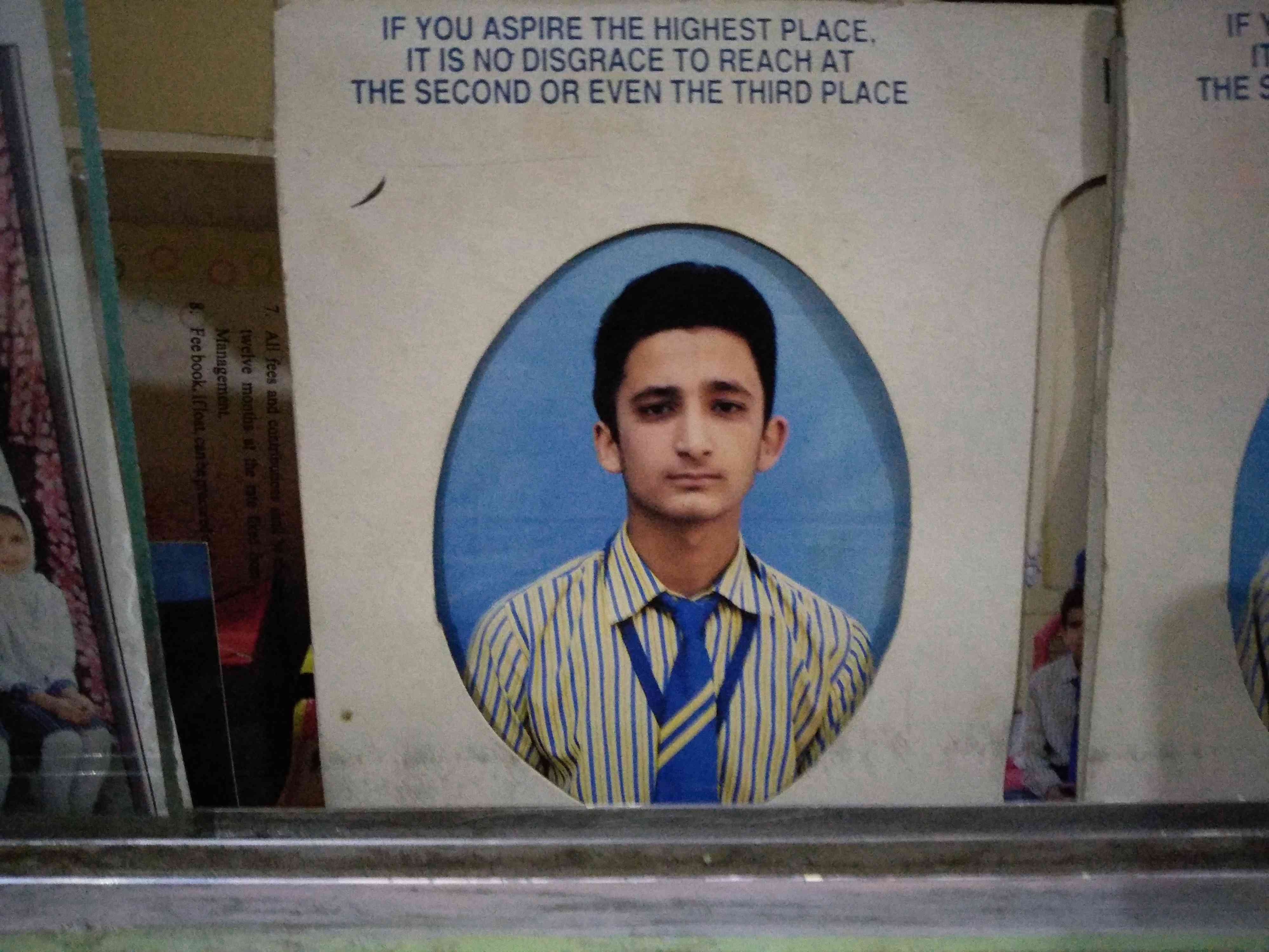 A picture of Ahtisham Sofi from his school days.