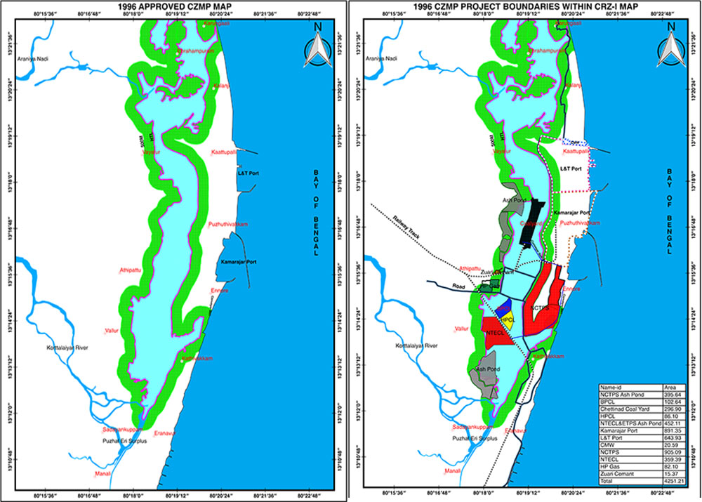 The map on the left shows the approved Coastal Zone Management Plan, 1996, while the map on the right details the encroachments. (Credit: The Coastal Resource Centre).