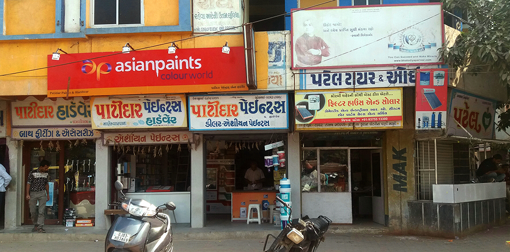 A string of hardware stores owned by Patidars line a shopping complex in Morbi. Photos by Aarefa Johari.