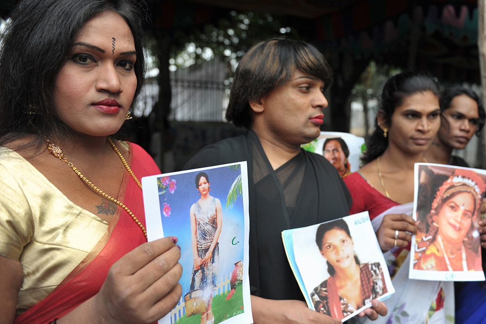Transgender rights activists hold a vigil to mark the 'Transgender Day of Remembrance' in Hyderabad. Credit: Noah Seelam/AFP