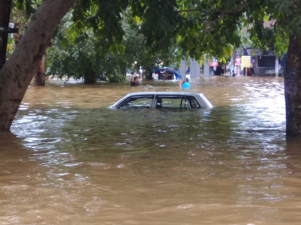 A submerged car in Pala town of Kottayam district (Photo credit: Madhumitha Tony Jose)