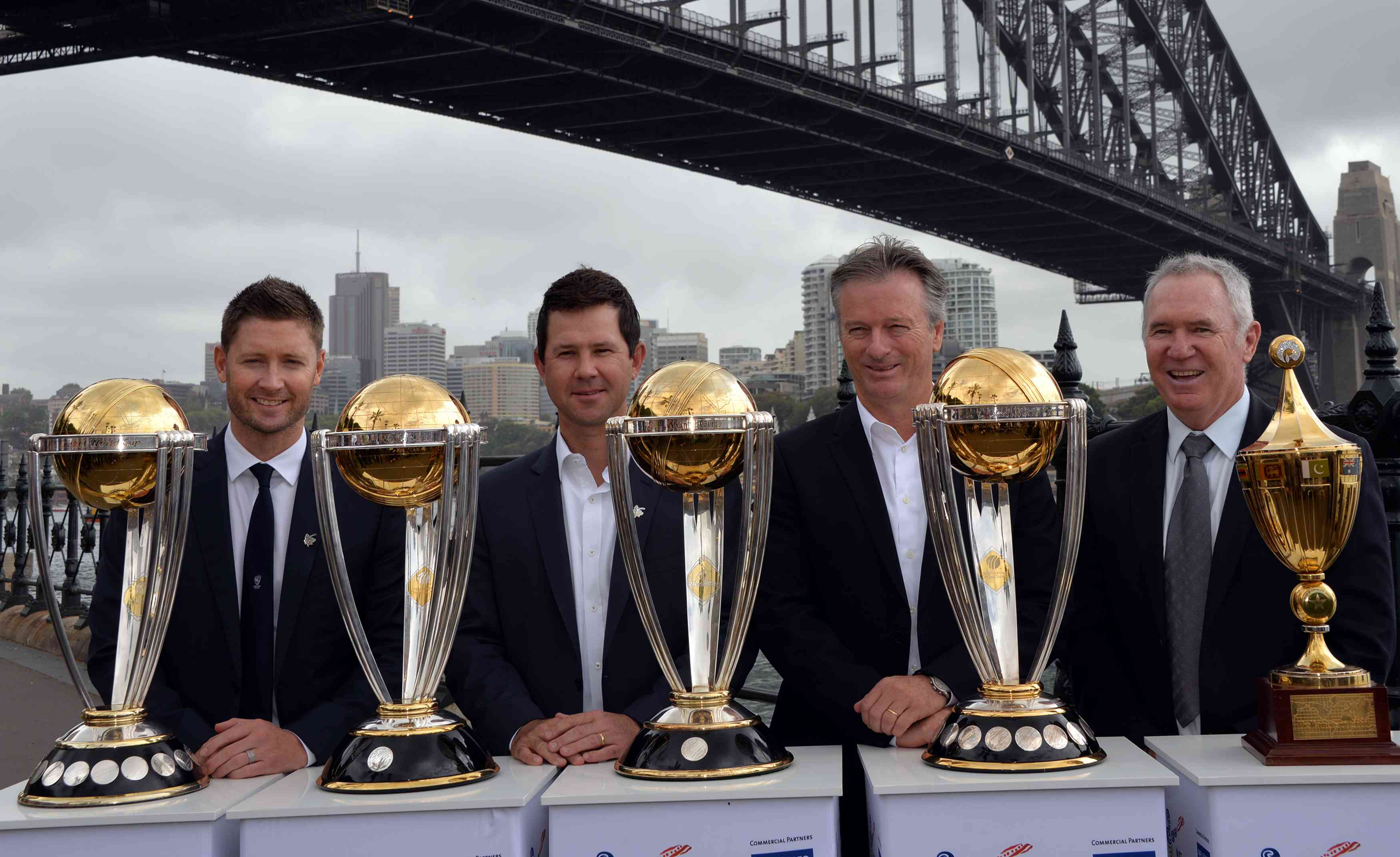 L - R] Australia's World Cup-winning captains – Michael Clarke, Ricky Ponting, Steve Waugh and Alan Border [AFP / Saeed Khan]