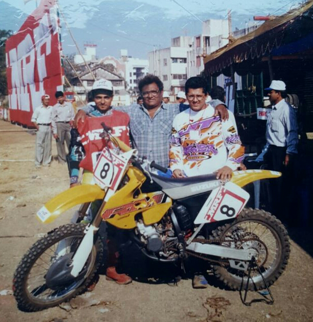 Rustom, Kersi and Zubin with their racing bike, retro-fitted at the family garage.