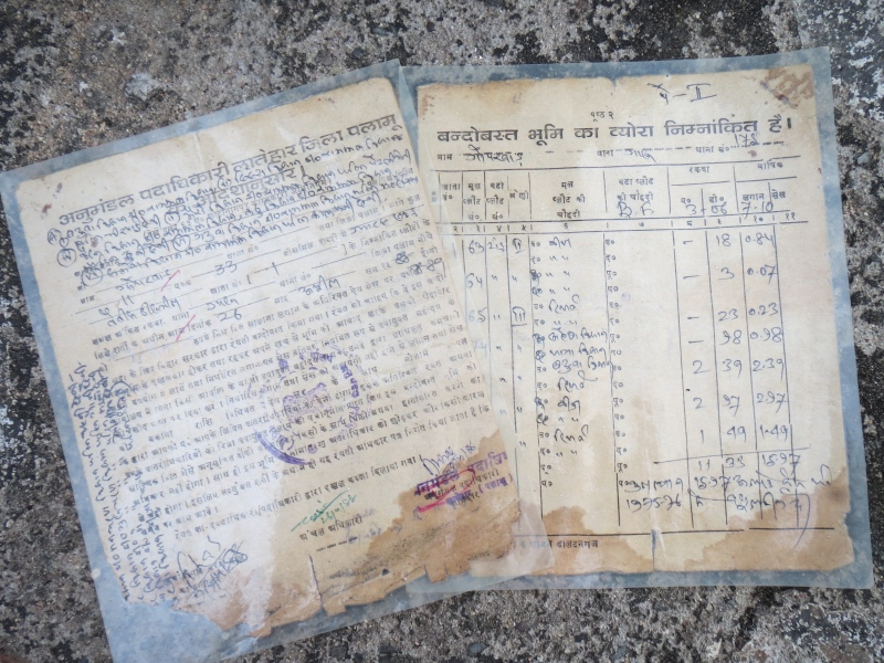 Several families in Gopkhar village have documents that attest to the fact that the state government had recognised their homestead land in 1988-'89. Photo credit: Anumeha Yadav.
