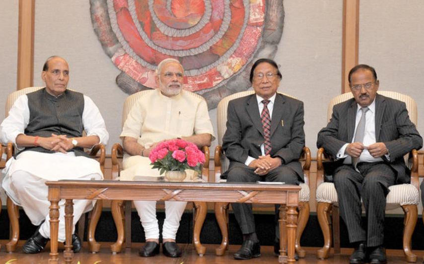 Th Muivah (second from right) with Prime Minister Narendra Modi, Home Minister Rajnath Singh and National Security Adviser Ajit Doval during the signing of the Naga peace accord in 2015.