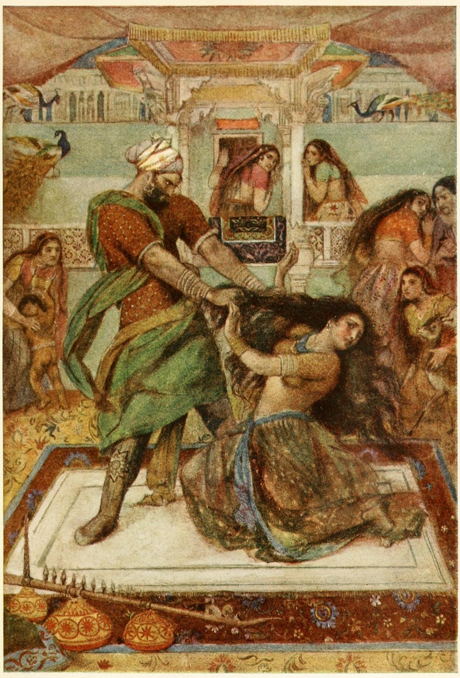 Draupadi dragged by her hair (Image from Wikimedia Commons).