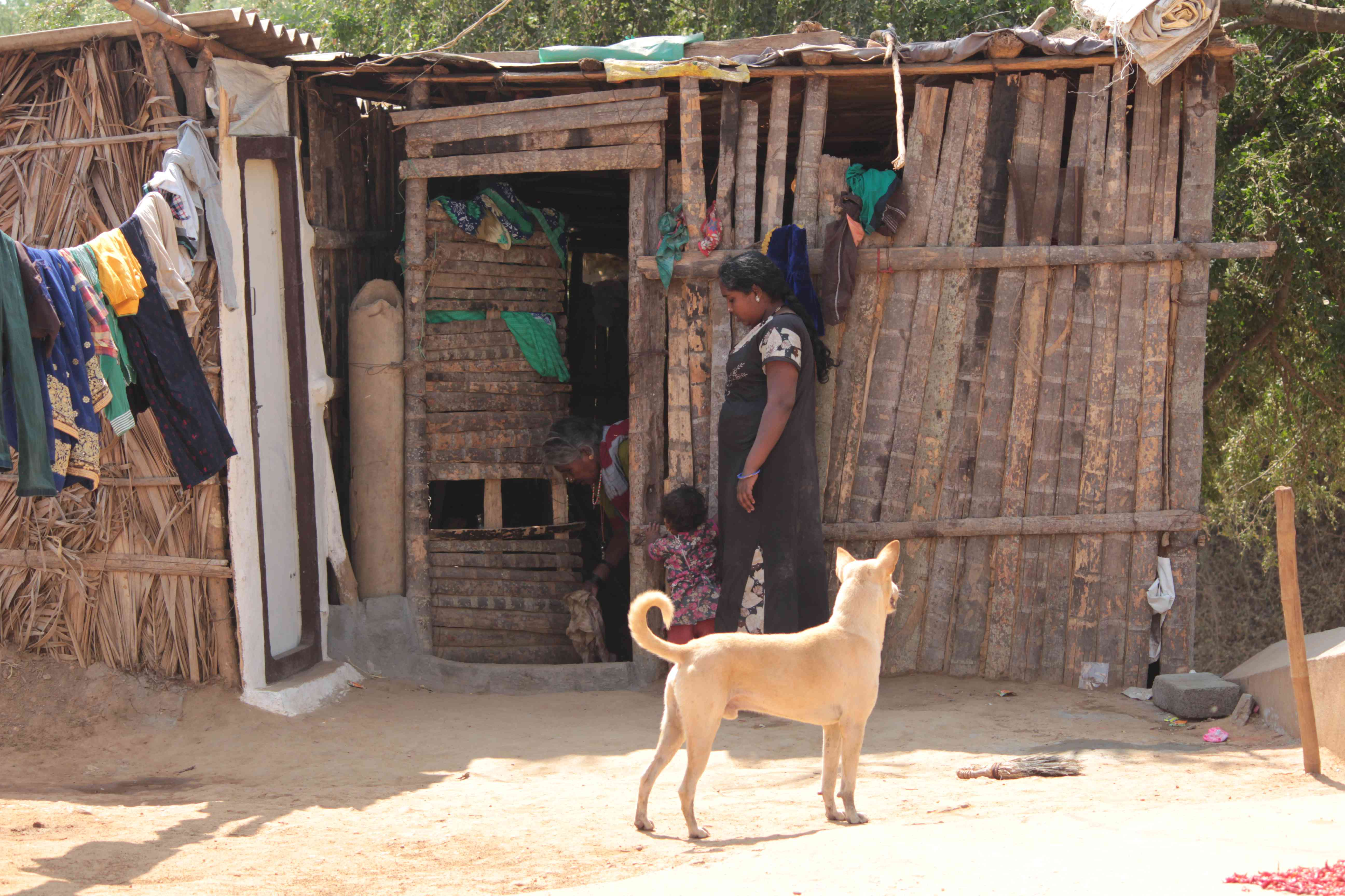 The home of a Madiga family at Haranagiri village.