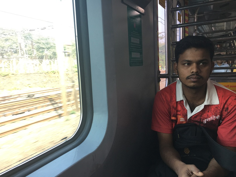 A commuter on the inaugural ride. Credit: Sruthi Ganapathy Raman