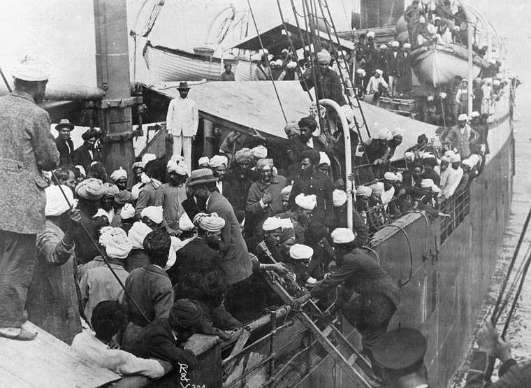 Sikh passengers aboard the Komagata Maru in Vancouver's English Bay, 1914. The Canadian government disallowed the passengers from landing in Canada and the ship was forced to return to India. Photo credit: Library and Archives Canada/Wikimedia Commons [Public Domain]
