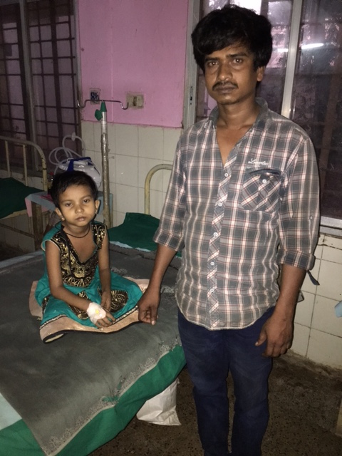 A school girl undergoing treatment for malaria at district headquarter hospital in Malkangiri. Photo: Priyanka Vora