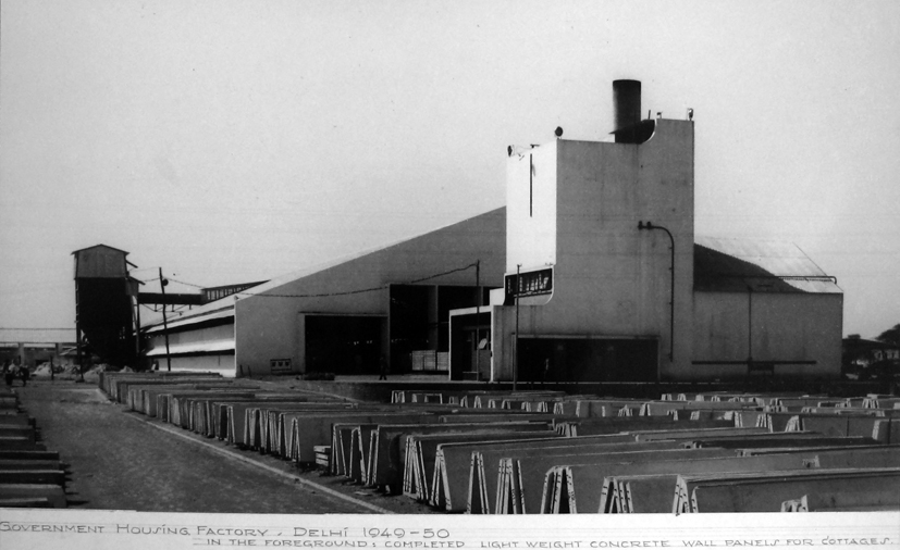 Government Housing Factory with aerated concrete panels in the foreground, 1950.
