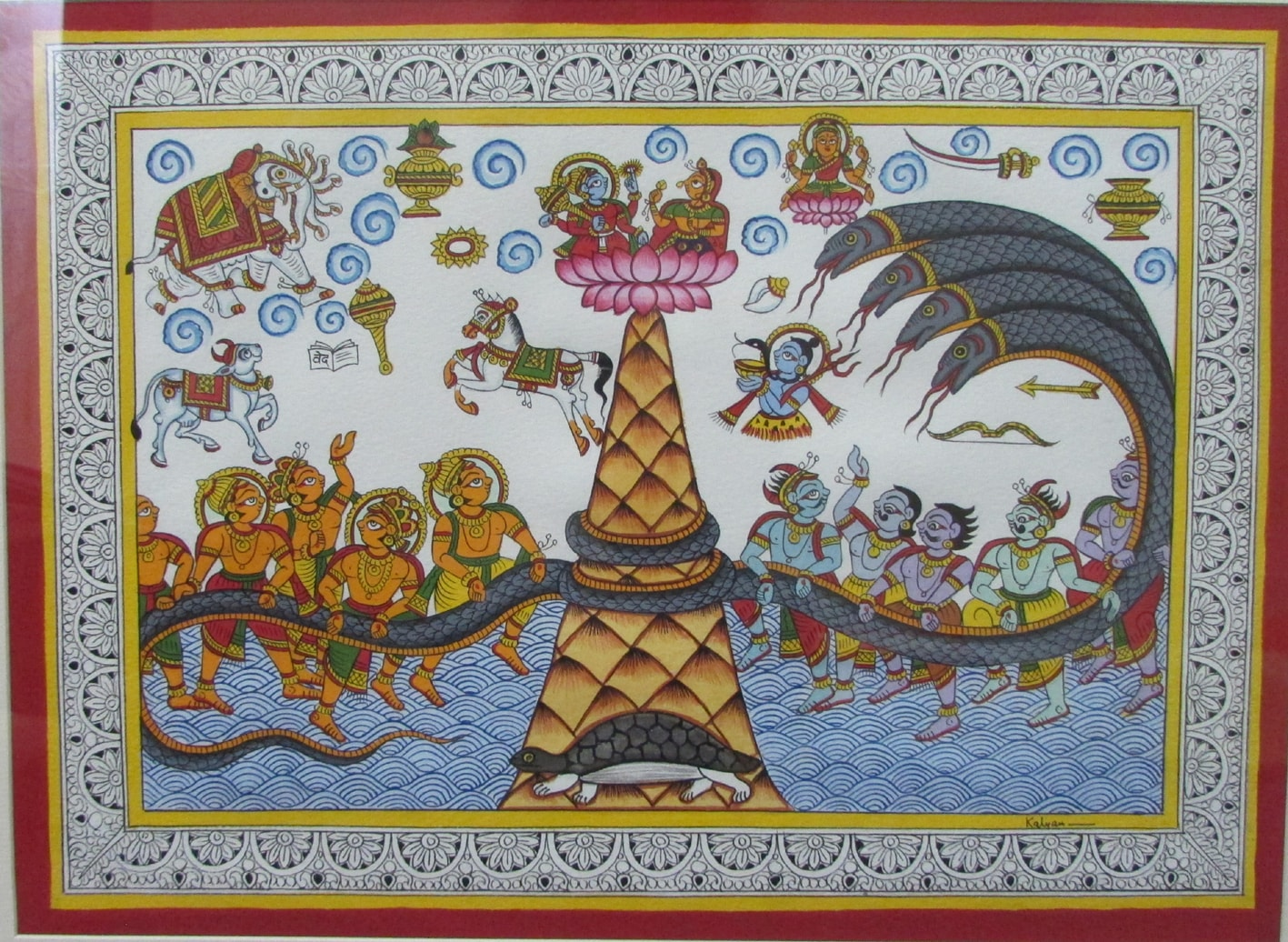 A phad painting depicting Samudra Manthan.