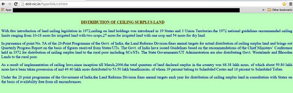 Screenshot from the website of the Ministry of Rural Development, Government of India.