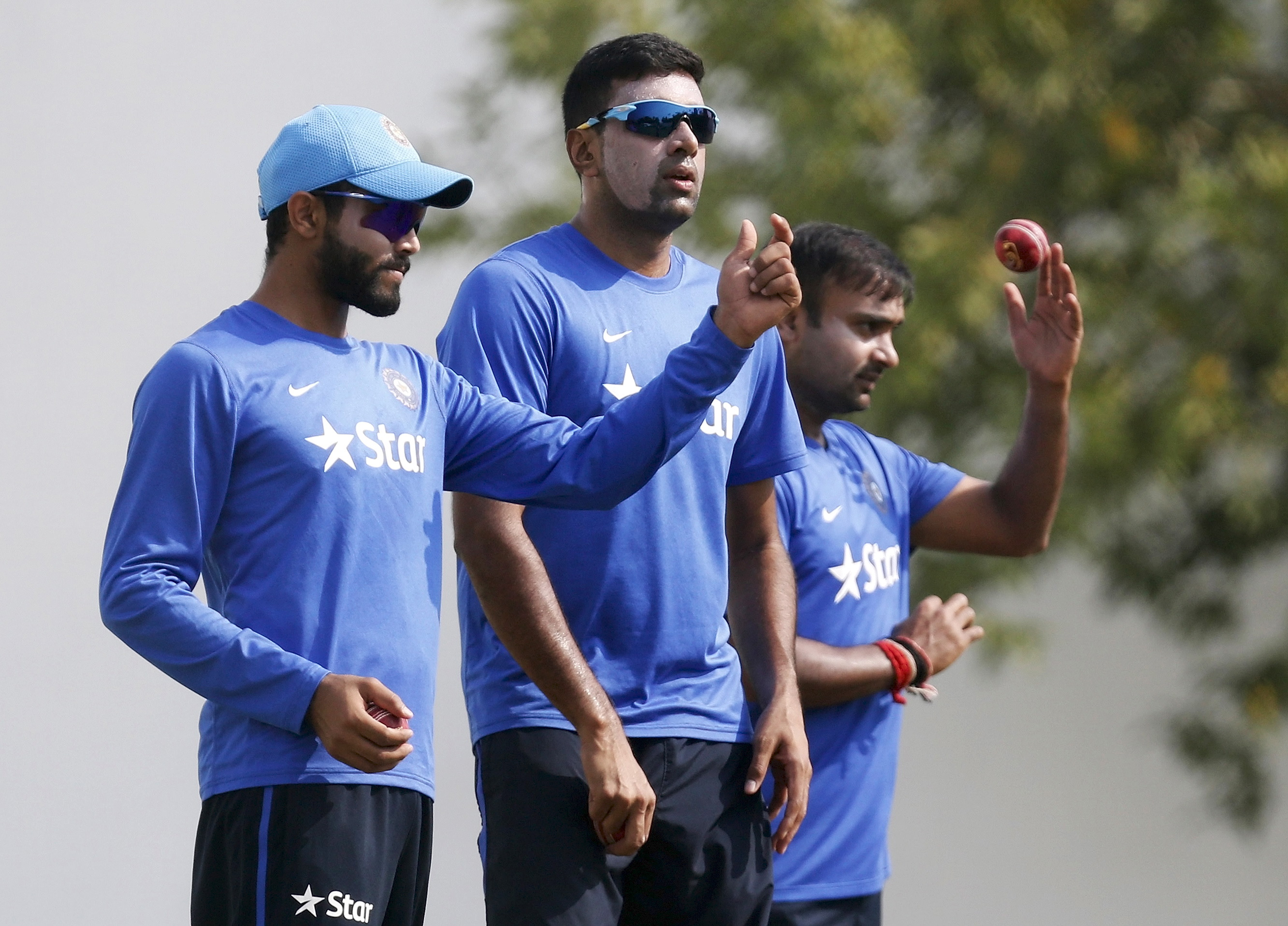 Ravindra Jadeja (left) and R Ashwin (centre) have played just one series apiece in England and South Africa. Photo: Reuters.