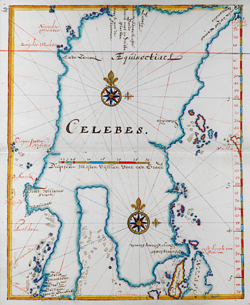 Map of Sulawesi, formerly known as Celebes, from a 17th-century Dutch portolano. Makasar is located in the bottom left corner. Photo credit: British Library