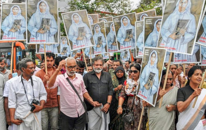 A protest march against rape accused Bishop Franco Mulakkal in Ernakulam, Kerala, in September. The protesting nuns have received tremendous support as well as pushback. (Credit: PTI)