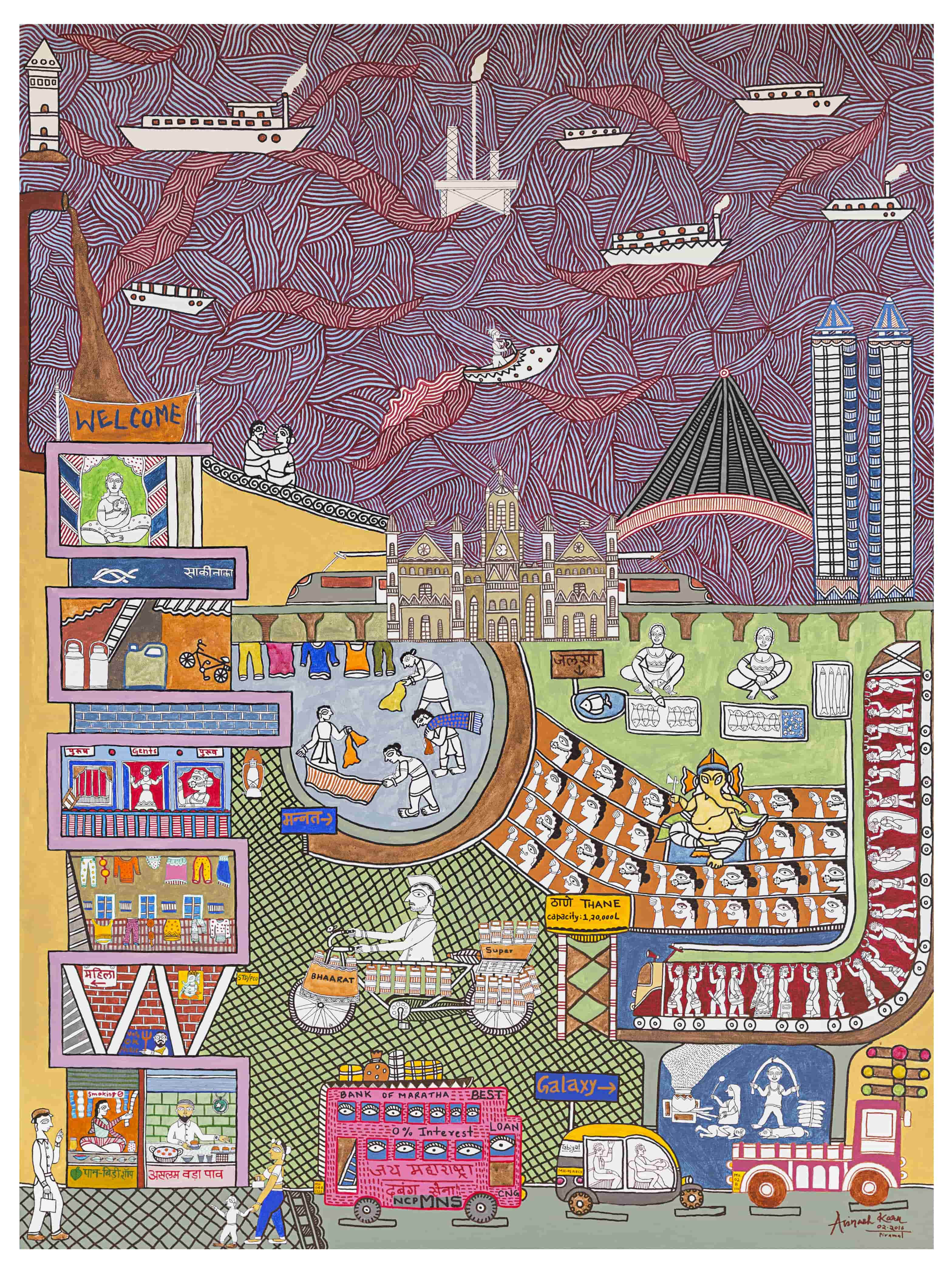 In 'An Ode to Mumbai', Karn has replicated his experience of the city. The upper half of the painting is dedicated to the Arabian Sea and the rest of the canvas shows the city – a couple on a date on Marine Drive, a brothel within a slum, the iconic Church Gate, a pink (not the official red) BEST bus with commuter eyes staring out of every bus window, dabbawalas and, of course, a vada pav stall.