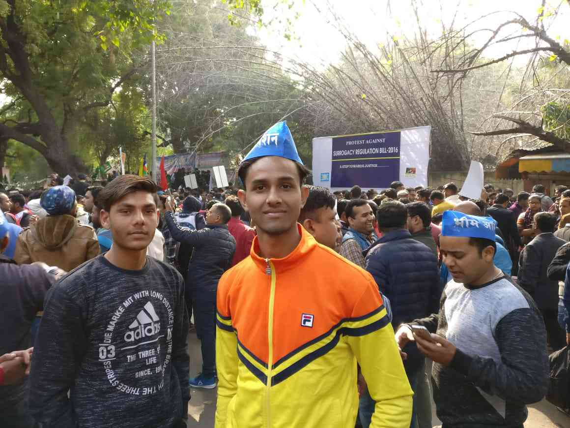 Rohit Gautam, a volunteer with the Ambedkarite organisation Bhim Army, at the protest. The Bhim Army is based in Western Uttar Pradesh. Photo credit: Shoaib Daniyal