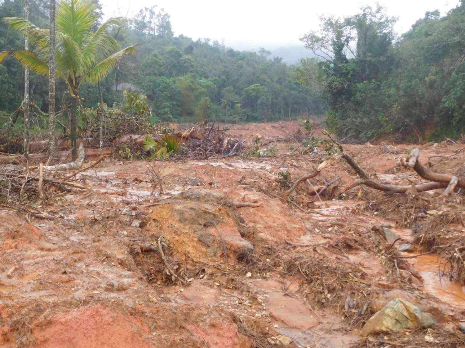 A view of the damage caused by the landslide in Thacharakolly. (Photo credit: TA Ameerudheen).