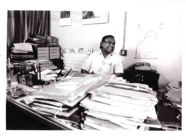 PK Nair at his office at the National Film Archive of India, Pune. 1987. Photograph by Peter Chappell.