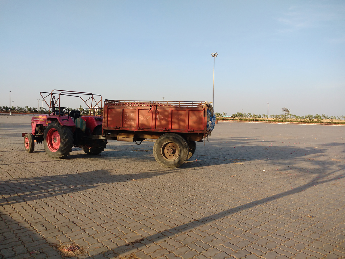 A solitary tractor remains at Pimpalgaon market at the end of a trading day. Photo credit: Mridula Chari