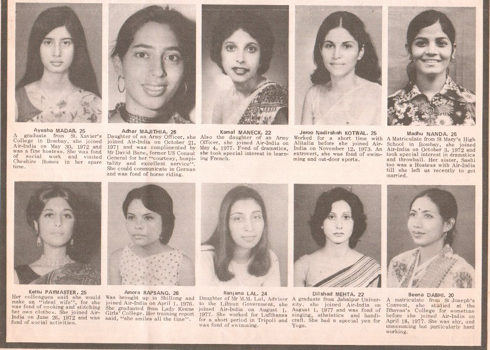 Some of the flight attendants who lost their lives in the Emperor Ashoka crash.