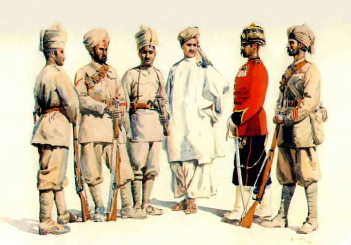 19th Punjabis. Watercolour by AC Lovett, 1910. Image credit: Wikimedia Commons [Public Domain]