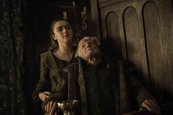 Arya Stark (Maisie Williams) and Walder Frey (David Bradley) in season 10 episode 6. Courtesy HBO.