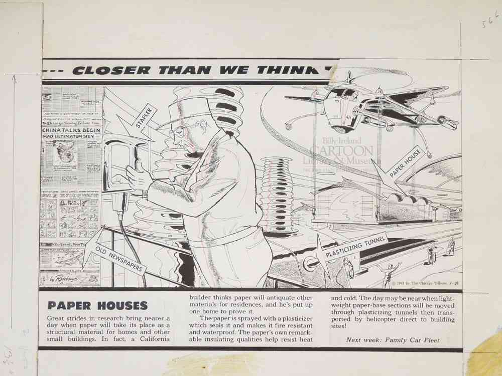 """Paper Houses"" Arthur Radebaugh, Closer Than We Think, 1961. Original art from the International Museum of Cartoon Art Collection, The Ohio State University Billy Ireland Cartoon Library & Museum."