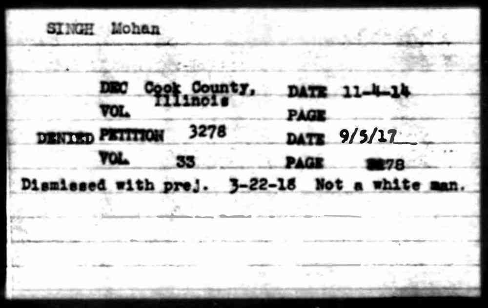 Certificate denying Mohan Singh American citizenship, 1917.