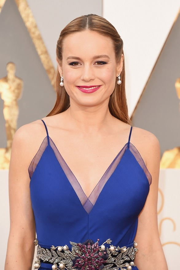 Brie Larson, in a Gucci gown, before picking up an Oscar for Best Actress for 'Room.'