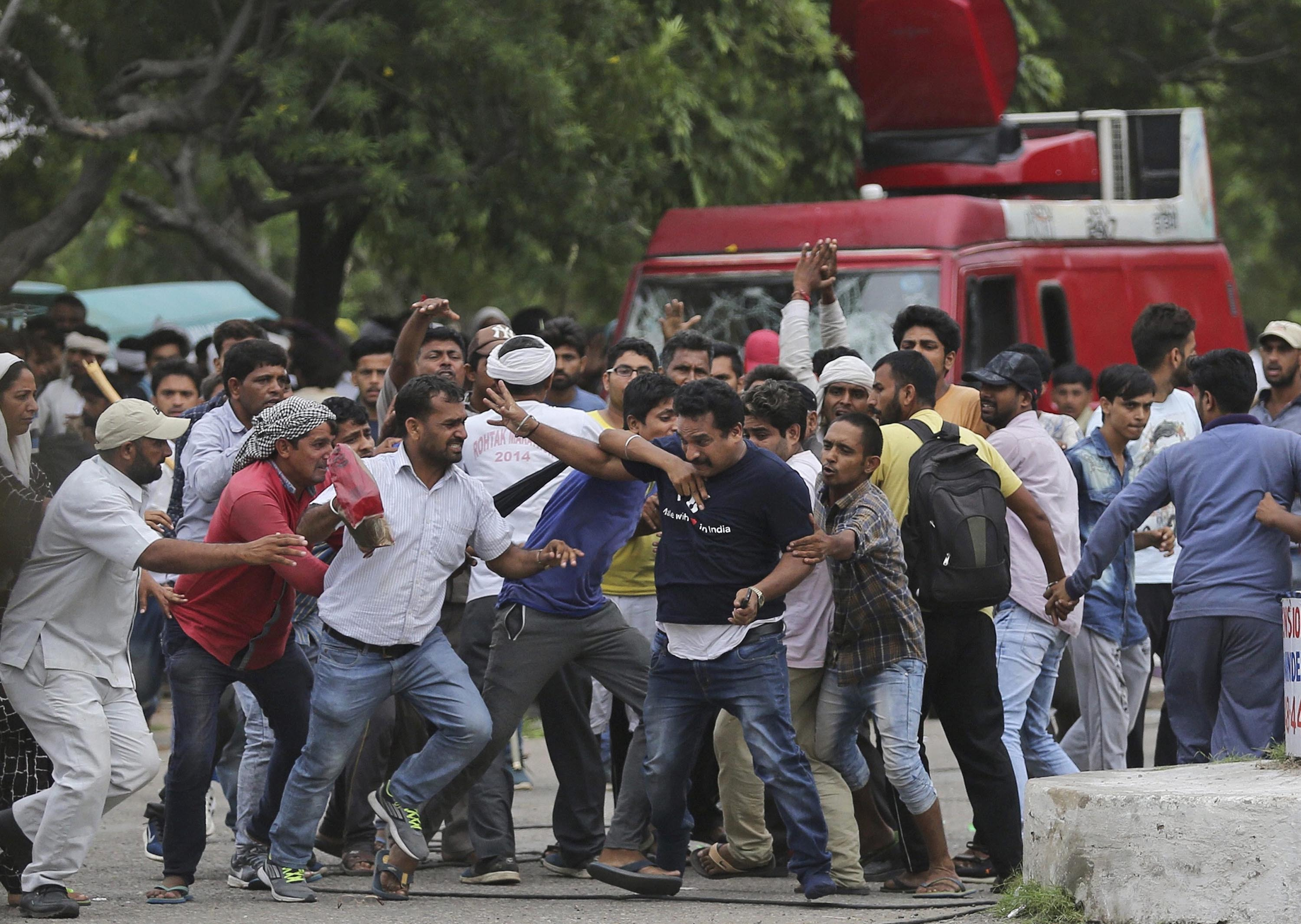 The chief minister of Haryana said at least 700 protestors have been detained, and six Army columns have been deployed in the state. (Credit: PTI)