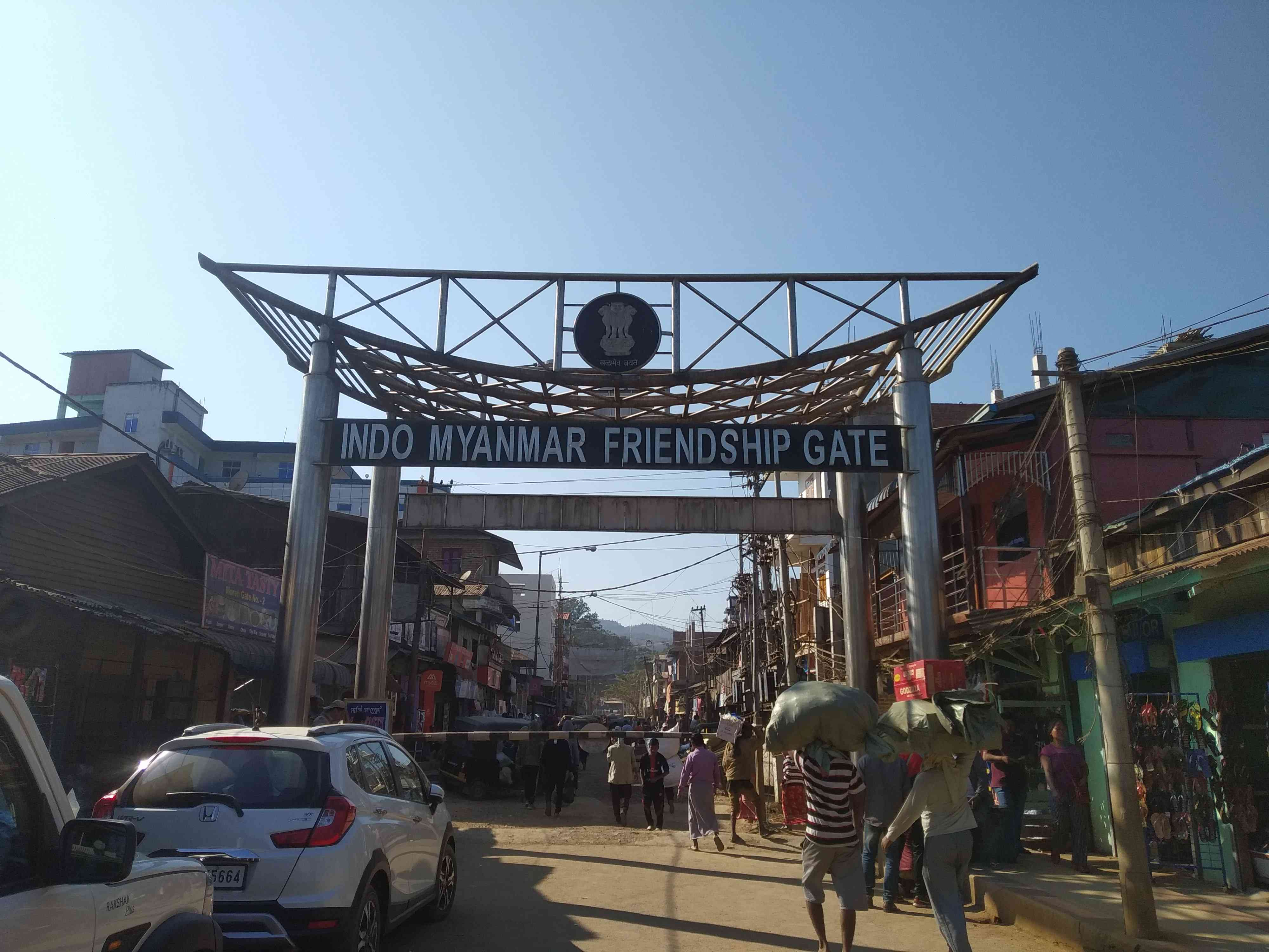 The Indo-Myanmar Friendship Gate separates Moreh and the market township of Namphalong in Burma. Movement is free between 7 am and 4 pm. Photo credit: Arunabh Saikia