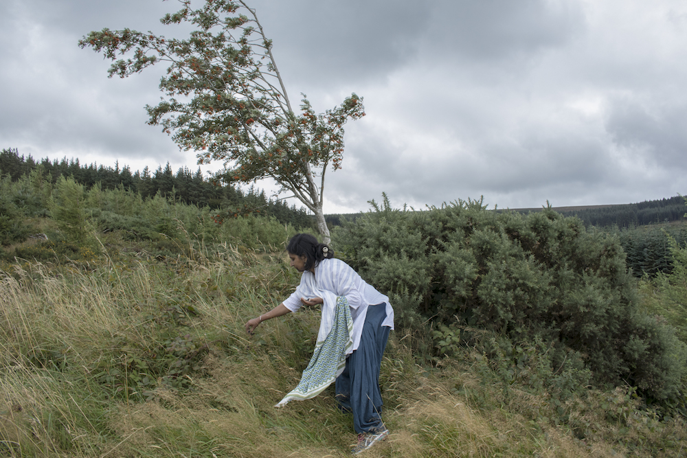 Nita Mishra picks berries on a hill close to her home in Dublin. This is where she often comes to think and write. A Ph.D student at the University of Cork, Ireland, Nita has two children – Narayani, 19 and Tanay, 12. She's been living in Ireland for nine years now along with her family and she's also a respected and published poet. Photo: Paroma Mukherjee/Ireland
