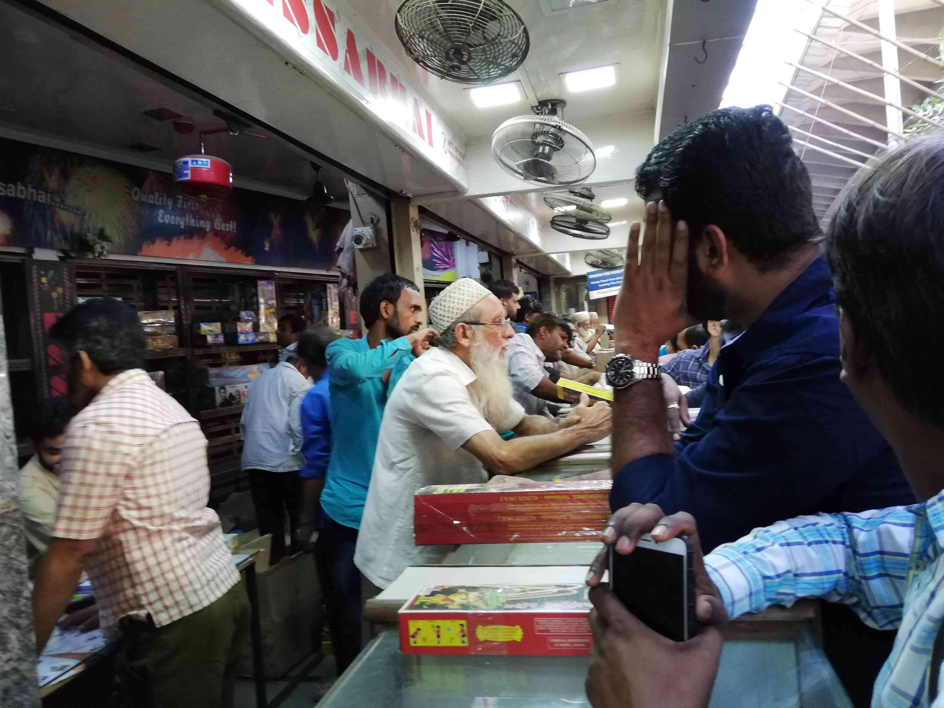 Customers throng Essabhai Fireworks, on Mohammed Ali Road in South Mumbai. (Photo credit: Mridula Chari).