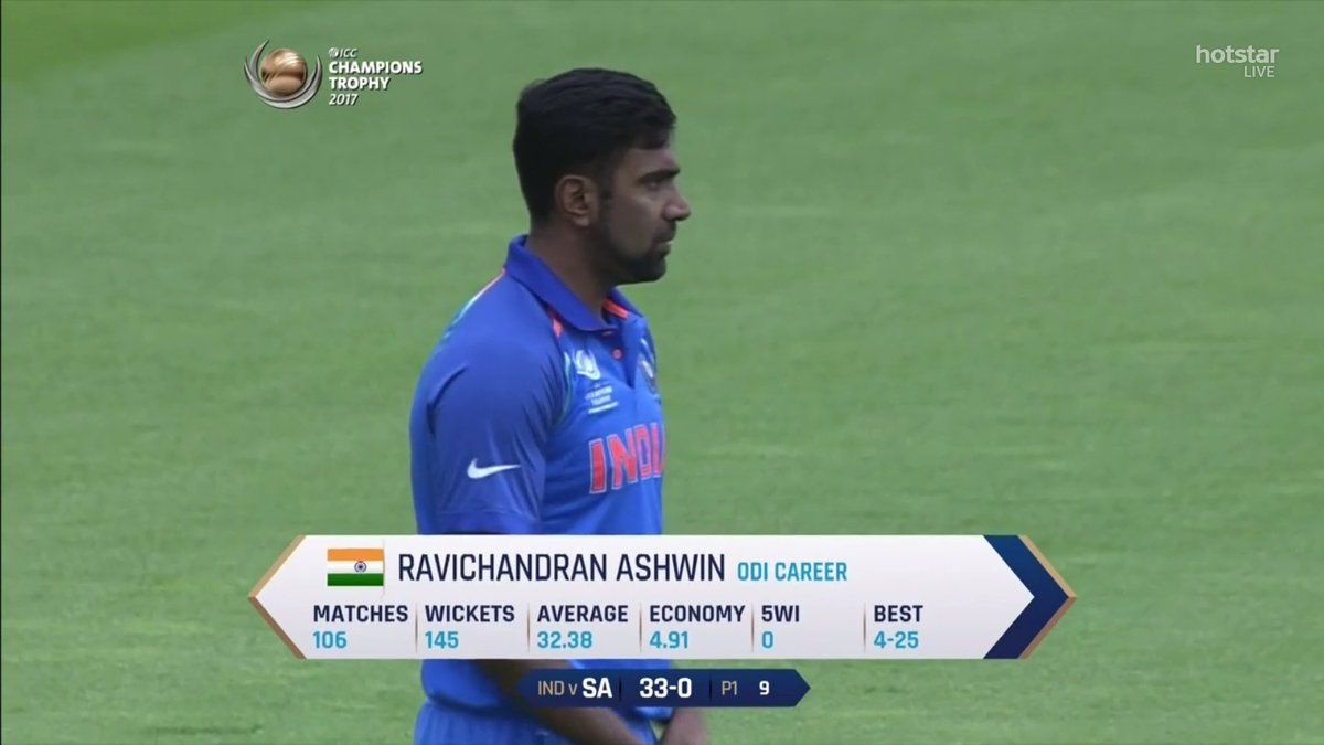 This Ashwin's first game of the 2017 ICC Champions Trophy.
